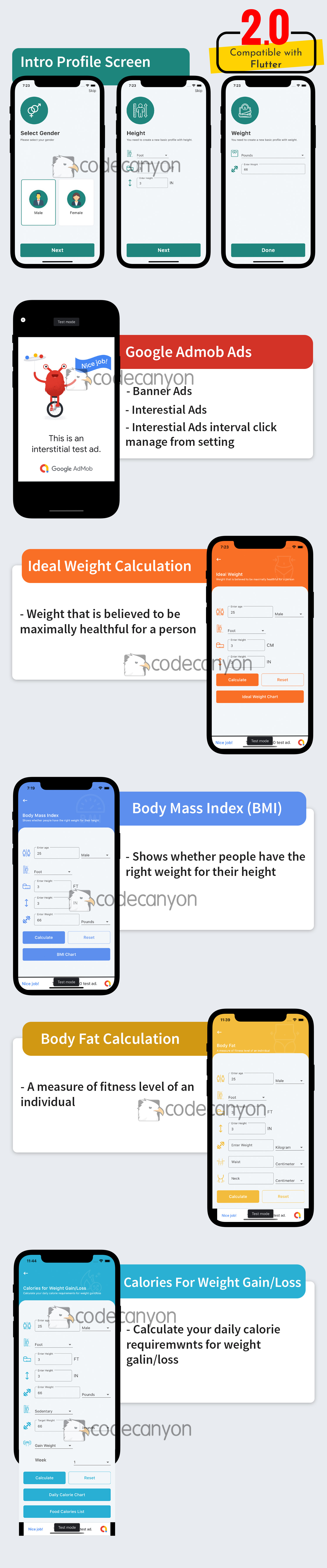 Flutter Health Calculation with Admob ready to publish - 6