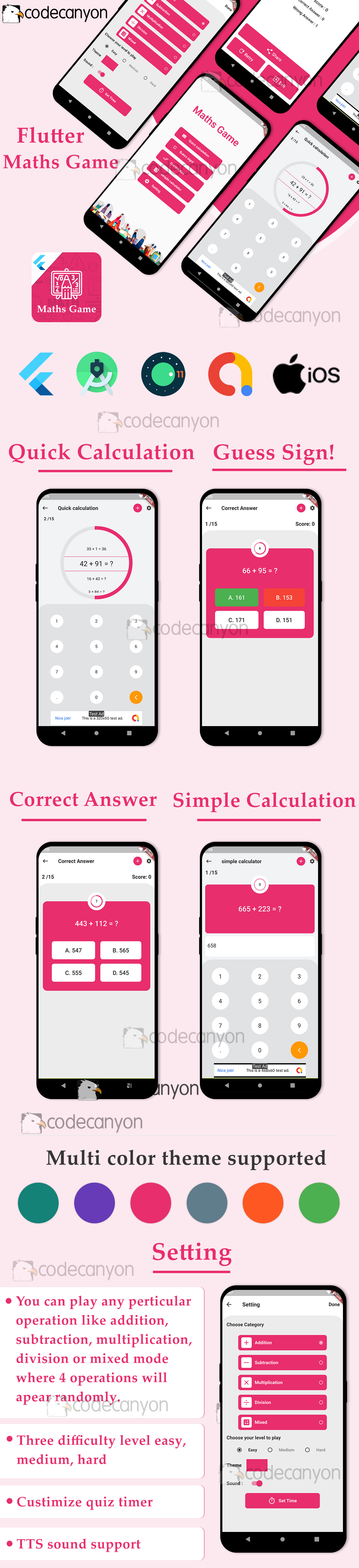 Flutter maths games 4 in 1 with admob ready to publish template - 5