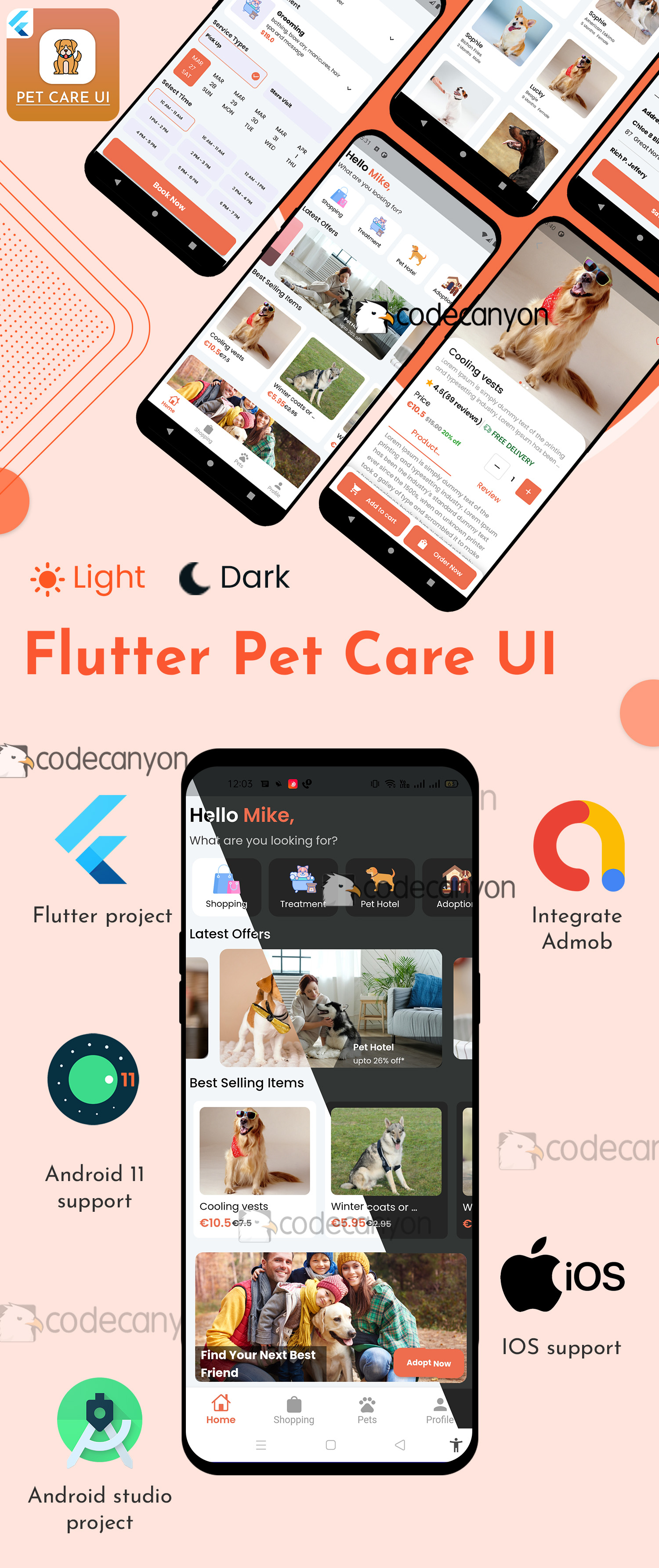Flutter Pet Care | Adoption Pet | Hotel Booking | Treatment | Shopping | UI Kit template - 5